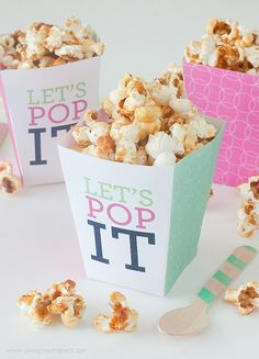 "FREE printable ""Let's Pop it!"" Popcorn Boxes 