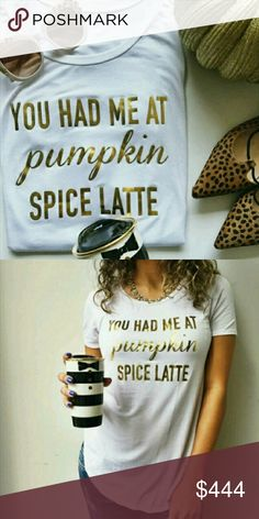 Pumpkin spice latte flowy tee Pumpkin spice latte flowy tee Material: 95% rayon 5% spandex Made in the USA Boutique  Tops Tees - Short Sleeve