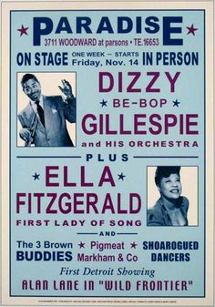Dizzy Gillespie and Ella Fitzgerald 1947 Concert Poster - Jazz and Blues Music Posters - 123 Posters. Ella Fitzgerald, Jazz Artists, Jazz Musicians, Graffiti Artists, Poster Jazz, Print Poster, Detroit, Festival Jazz, Jazz Concert