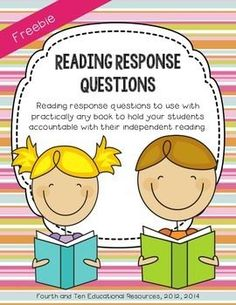 Reading Response Questions Freebie! Great for keeping your students accountable for their independent reading.  Perfect for homework or reading workshop!