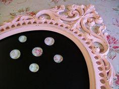 Room Decor! Pink-Shabby Chic Chalkboard-Magnet Board-Baroque Vintage Frame
