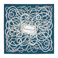 Tiffany Pearls scarf in Florentine blue silk. - For you Shahreen