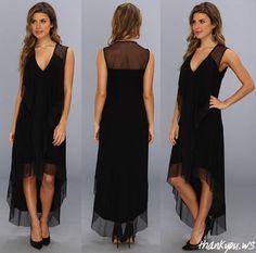 Rochie neagra asimetrica din jerse strech by BCBGMAXAZRIA – model Cydnee Cascade Drape cu decolteu in V Cascade, High Low, Model, Dresses, Fashion, Moda, Vestidos, Fashion Styles