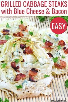 Cabbage steaks grilled with bacon and blue cheese is an easy low carb side dish! It's a perfect recipe for summer grilling. Cabbage steaks grilled with bacon and blue cheese is an easy low carb side dish! It's a perfect recipe for summer grilling. Low Carb Summer Recipes, Healthy Low Carb Dinners, Healthy Low Carb Recipes, Low Carb Dinner Recipes, Side Dish Recipes, Healthy Cooking, Low Carb Diet, Paleo Diet, Breakfast Recipes
