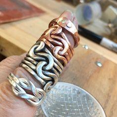 It is a ring day😉 #ljbjewelry #metalsmith #artisanjewelry #artjewelry #fashionaccsessories #handmadejewelry #riojeweler #instajewelry #etsymetal #etsymetalteam #etsyseller #capecodjeweler #instasmithy #silversmith #onmybench #womansjewelry #womansfashion #sterlingsilverjewelry #bling #metalwork #wearableart #knotrings #thumbrings