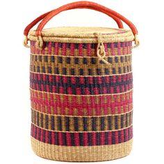 African Basket - Ghana Bolga - Lidded Laundry Hamper - 18 Inches Across - #54119