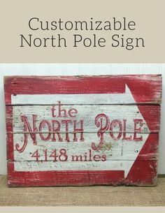 Distance calculated from your address to the North Pole! Love this sign idea! Customizable North Pole Sign - Rustic Pallet Wall Art - Wood Wall Sign - Christmas Holiday Decor - Gifts for Children - Wood Christmas Sign - Christmas decor - Rustic Christmas sign #ad
