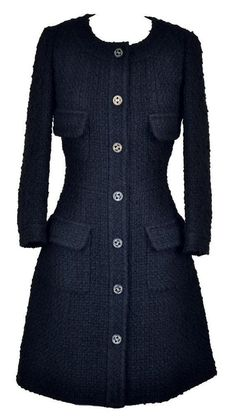 Iconic Chanel 13A Tweed Little Black Coat Jacket Dress 36 RARE NEW Collectible #Chanel #BasicCoat