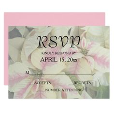 Pink and Cream Poinsettias Wedding RSVP Card - wedding invitations cards custom invitation card design marriage party