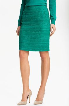 A Pencil skirt is timeless and flattering.  Halogen® Textured Pencil Skirt (Petite) | Nordstrom