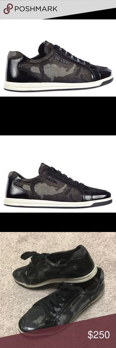 Prada women's shoes AUTHENTIC Great condition, barely used. trainers sneakers camouflage grey Outer Material: Synthetic Closure: Lace-Up Material Composition: synthetic Product code: 3E5892 3OCP F0170 Color: grey Material: Nylon Prada Shoes Sneakers