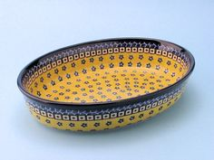 """CA298-859 Sunburst - (Large) Oval Baker (7.5"""" x 10.5"""") Hand painted Polish Pottery is safe for use in the oven, microwave and dishwasher"""
