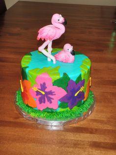 Pink Flamingo Luau Cake