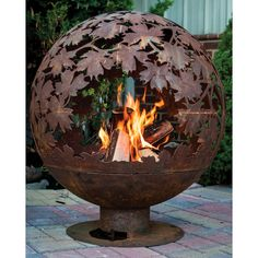 The Fancy Flames Blowing Leaves diam. Fire Bowl is a fun outdoor feature from Esschert Design. Fire Pit Globe, Outdoor Fire, Outdoor Decor, Outdoor Spaces, Outdoor Furniture, Outdoor Pergola, Pergola Ideas, Backyard Patio, Patio Ideas
