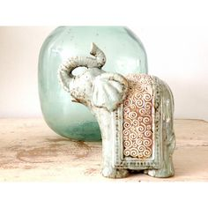 elephant, elephant decor, elephant figurine, bohemian decor, elephant... ($28) ❤ liked on Polyvore featuring home, home decor, elephant home decor, elephant figure and elephant figurines