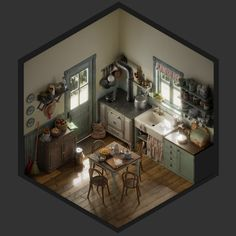 Vintage kitchen isometric, Jose Olmedo, 3ds max with Blender & PS, '17 : Art