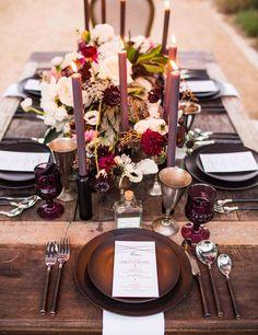 mariage d'automne- idées de déco de table en couleurs merlot et prune super chic