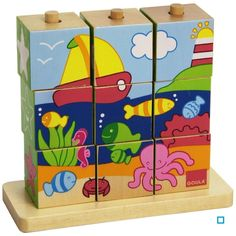 Puzzles Cubes Mer - Dis55198 - Taille : Taille Unique Puzzles 3d, Wooden Puzzles, Creative Activities For Kids, Diy For Kids, Puzzle Cube, Cubes, Diy Play Kitchen, Kids Wood, Educational Toys For Kids