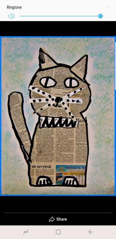 Animal Art Projects, Animal Crafts, Collage Art, Collages, Splat Le Chat, Newspaper Crafts, Cat Cards, Recycled Art, Art Club