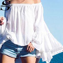 Sheinside feminino 2015 verão sólida Chiffon rua branco chama manga barra do pescoço solto blusa(China (Mainland))