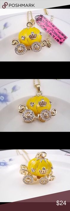 "💋 'Whimsical Fancies' Charming Necklace 💋  NWT Yellow Enamel, Crystals, Spinning Wheels, 28"" Gold Plated Chain with 3"" Extender and Lobster Clasp Closure, Pumpkin Carriage Pendant Necklace.  NWT. Betsey Johnson Jewelry Necklaces"