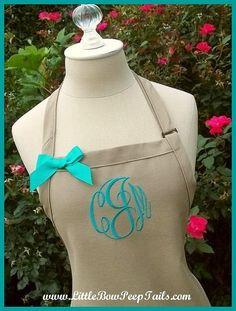 Khaki Gourmet Monogrammed Apron - Personalized Chefs Gift Idea Teal Green White Ribbon Bakers Beach Destination Wedding Bridal bridemaids