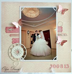 Wedding layout 9 - Scrapbook.com  A soft wedding layout with a touch of dimensional butterflies.