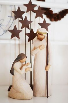 Vintage French Soul ~ Love this nativity scene … Christmas Nativity Set, Christmas Clay, All Things Christmas, Christmas Holidays, Christmas Decorations, Christmas Ornaments, Nativity Sets, Decoration Creche, Illustration Noel