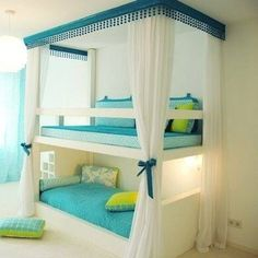 Amazing ideas for bunk beds how cool does this look. My bunk bed was no where near as cool as this when I was little!!!