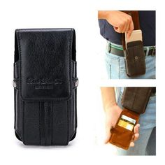 dd4608fbbc Genuine Leather Portable Stitching Cover Card Holder Phone Waist Bag For Men
