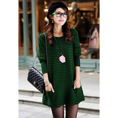Ladylike Style Long Sleeves Scoop Neck Pocket Embellished Women's Solid Color Sweater Dress