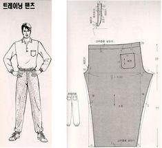 이미지를 클릭하면 원본을 보실 수 있습니다. Clothing Patterns, Sewing Patterns, Man Clothes, Diy And Crafts, Pants, Men's, Pattern Cutting, Knights, Dressmaking