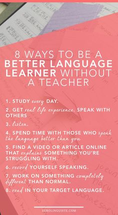 8 Ways to Learn a Language Without a Teacher. Here are some tips for keeping up your foreign language skills. 🌺🌻✿❀❁For more great pins go to E Learning, Learning Goals, Learning Italian, Learning Spanish, Spanish Activities, Blended Learning, Learn German, Learn French, Learn English