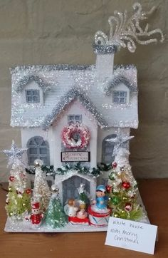 Putz House w/ Wooden German Ornaments Decorated Bottle Brush Trees VTG Inspired