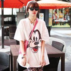 スパンコールデザイングーフィープリント カジュアルロング丈半袖Tシャツ¥ 5,300(税込)