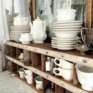 coffee station via / love shelving and all the white dishes