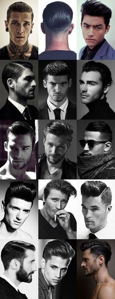 Check out these Men's Sheen, High Shine and Wet Looks Hairstyles Haircuts, Haircuts For Men, Hair And Beard Styles, Short Hair Styles, Male Grooming, Grooming Salon, Look Vintage, Moustaches, Beard No Mustache