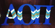 DIY AOII wooden letters, blue themed! #AOII