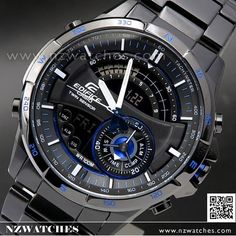 Casio Edifice Thermometer Compass Super illuminator Black Blue Watch ERA-200DC-1A2, ERA200DC Rolex Watches, Watches For Men, Awesome Watches, Casio Edifice, Casio Watch, Compass, Omega Watch, Clocks, Cool Stuff