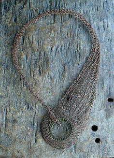 WREN Copper Wire Crocheted/Knitted Statement Collar Necklace/ Asymmetric Unusual…