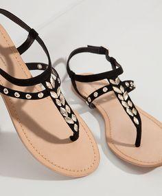 Footwear - Pyjamas and homewear Shoes Flats Sandals, Red Sandals, Studded Sandals, Leather Sandals, Cute Flats, Cute Sandals, Cute Shoes, Me Too Shoes, Sneakers Mode