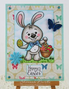 Whimsy Stamps card by Shannah Bartle using 'Easter Bunny'  by Krista Heij-Barber and 'Jillian & Friends' sentiment from Wee Stamps.