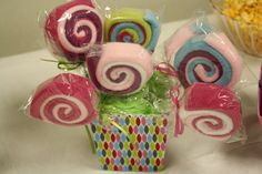 "wash cloth ""lolly pops""  made by @Megan Ward Phillips they were so cute!!!"