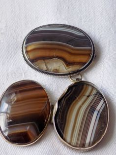 Unusual Antique Victorian Scottish Banded Agate Opening Locket & Brooch REPAIR