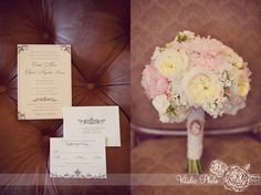 Vintage invitations, pink wedding bouquet with cameo - #Vitalicphoto