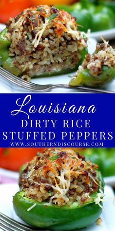 Louisiana Dirty Rice Stuffed Peppers   southern discourse My Favorite Food, Favorite Recipes, Stuffed Peppers With Rice, A Food, Good Food, Dirty Rice, Best Comfort Food, Southern Recipes, Lunches And Dinners