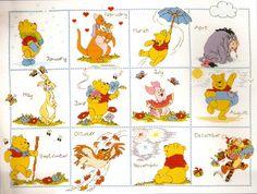 "Janlynn Disney Winnie the ""Pooh & Friends Calendar"" Counted Cross Stitch Kit"