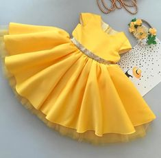 Anna yellow gown with Golden Sequin Bow African Dresses For Kids, Little Girl Dresses, Girls Dresses, Baby Girl Party Dresses, Girls Frock Design, Baby Dress Design, Kids Dress Wear, Kids Gown, Baby Girl Frocks