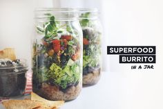 """Healthy Superbowl Recipe: Superfood Burrito (in a jar) This week, we are paying homage to the """"Americanized"""" holiday, Superbowl Sunday (of course with a healthy spin). We replaced the cliche junk (bad fats, simple carbohydrates, and preservatives) with something a bit more energetic. Our fave Superfood Burrito Bowl (in a jar) will not only impress your guests, but also double-duty as a meal prep session for your Monday. Hey!"""