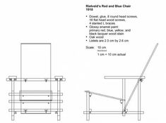 Blueprints > Miscellaneous > Rietveld > Rietveld Red and Blue Chair Balcony Table And Chairs, Wooden Dining Room Chairs, Outdoor Dining Chair Cushions, Modern Dining Chairs, Rietveld Chair, Industrial Office Chairs, Chair Drawing, Wooden Adirondack Chairs, Wood Screws